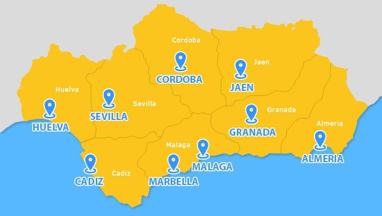flughafen andalusien karte Städte in Andalusien   Informationen zu den Andalusien Orten & Städten flughafen andalusien karte
